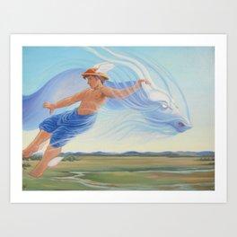 Hermes and the Zephyr Art Print