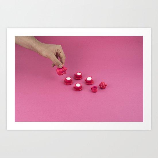 Tiny pink tea party Art Print