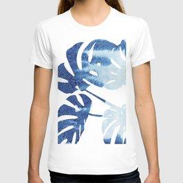 Navy Blue Tropical Leaf T-shirt