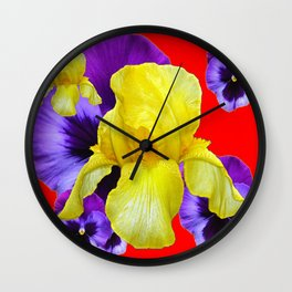 RED COLOR YELLOW-PURPLE PANSY ART Wall Clock