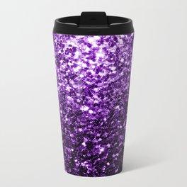 Beautiful Dark Purple glitter sparkles Metal Travel Mug