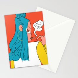Blue hair girl Stationery Cards