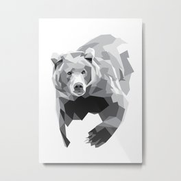 Geometric Bear on White Metal Print