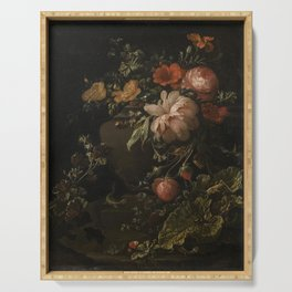 Flowers, Lizards and Insects - Elias van den Broeck (1650-1708) Serving Tray