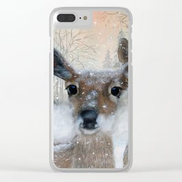 Deer in the Snowy Woods Clear iPhone Case