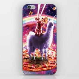 Laser Eyes Outer Space Cat Riding On Llama Unicorn iPhone Skin