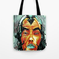 sci fi Tote Bags featuring BLK SCI-FI 6 by BlackKirby1