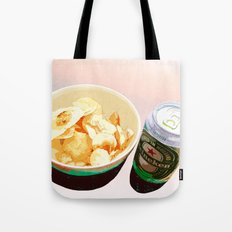 Potato chips and Heineken Tote Bag