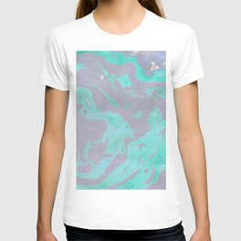 Mauve and Teal Marble Pattern T-shirt