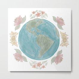Earth in Bloom / Florals and Globe Circular Print Metal Print