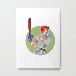 Baseball Batter Batting Circle Low Polygon Metal Print