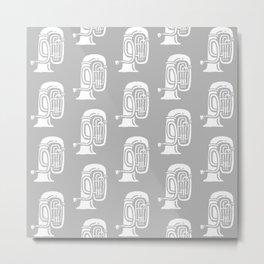 Tuba Pattern Gray Metal Print
