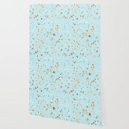 Blue Gold Modern Terrazzo Wallpaper