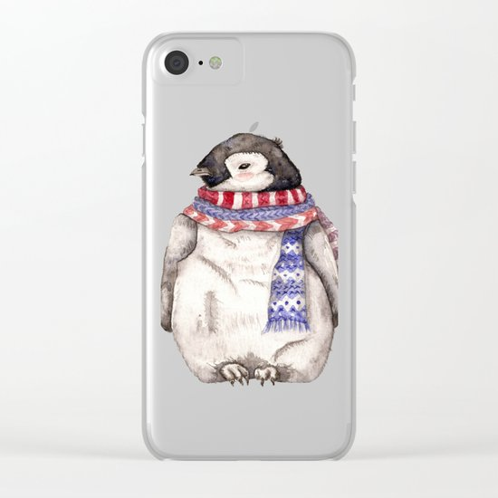 Baby Penguin in Red and Blue Scarf. Winter Season Clear iPhone Case