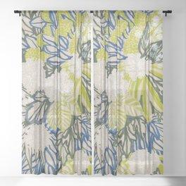 White chrysanthemums -ink floral Sheer Curtain