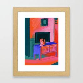 Cat in front of TV Framed Art Print
