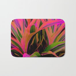 Exotic, Lush Passionate Pink and Green Leaves Bath Mat