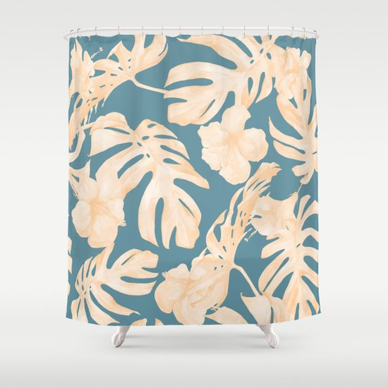 island vacay hibiscus palm leaf coral teal blue shower