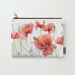 Spring Poppies Papaver Meadow Red Poppies White and Red Watercolor Carry-All Pouch