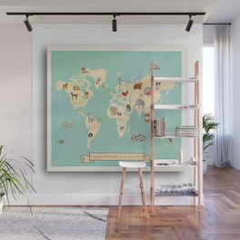 Global Compassion World Map Wall Art on Gallery Wrapped Canvas For Children Wall Mural