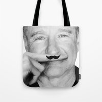 robin williams Tote Bags featuring Robin Williams Life is a joke by Maioriz Home