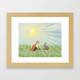 fox and bunny Framed Art Print