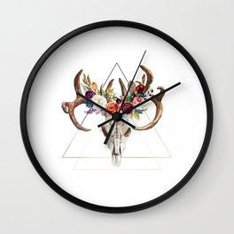 Geometric tribal floral bull skull Wall Clock