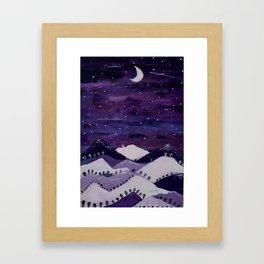 Mountains at night Framed Art Print