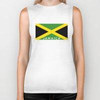 jamaica Biker Tanks featuring Jamaica country flag name text by tony tudor