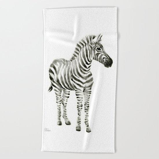 Zebra Watercolor Baby Animals Beach Towel