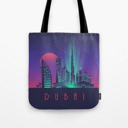 Dubai City Skyline Retro Art Deco Tourism - Night Tote Bag