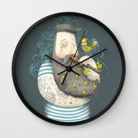 bird Wall Clocks featuring Bird by Seaside Spirit