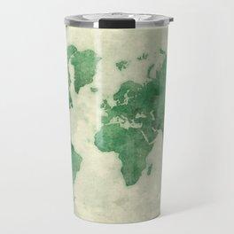 World Map Green Travel Mug