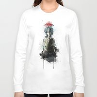evangelion Long Sleeve T-shirts featuring Ayanami Rei Evangelion Character Digital Painting by Barrett Biggers