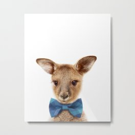 Baby Kangaroo With Bow Tie, Baby Animals Art Print By Synplus Metal Print