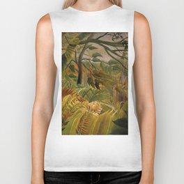 "Henri Rousseau ""Tiger in a Tropical Storm (Surprised!)"", 1891 Biker Tank"