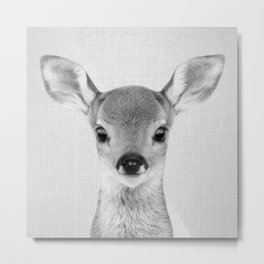 Baby Deer - Black & White Metal Print