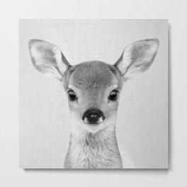 Baby Deer - Black & White Metal Print