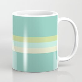 Treble Stripe in Aqua Blue and Lime Green. Minimalist Pattern Coffee Mug