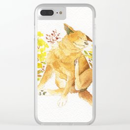 Watercolor Taiwan Dog -Yellow Clear iPhone Case