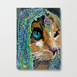 Calico Indian Bride - Cats Feline Catitude Metal Print