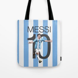 Lionel Messi Argentina 10 Print Tote Bag