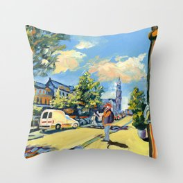 Amsterdam cityscape, Dutch landscape, oil painting Throw Pillow