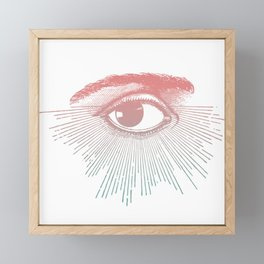 I See You. Pink Turquoise Gradient Sunburst Framed Mini Art Print