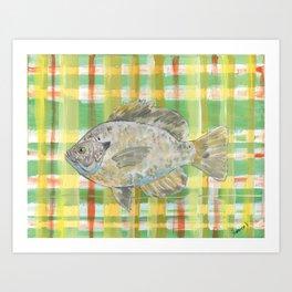 Bluegill with Yellow Plaid Background Art Print