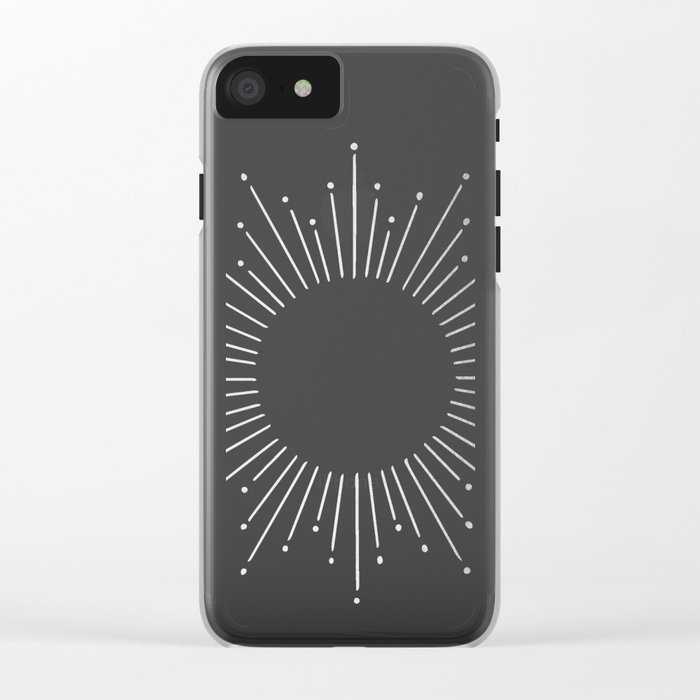 Sunburst Moonlight Silver on White Clear iPhone Case