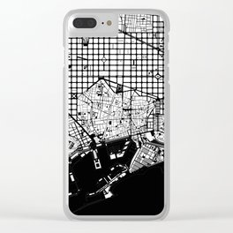 Barcelona city map black and white Clear iPhone Case