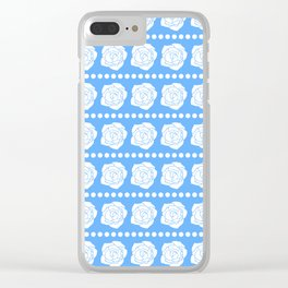 Simple White Roses - Blue BG Clear iPhone Case