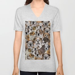 Social English Bulldog Unisex V-Neck