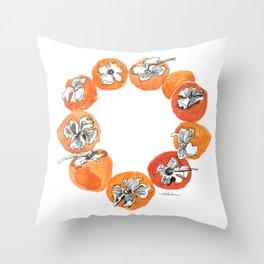 Persimmon Wreath Throw Pillow